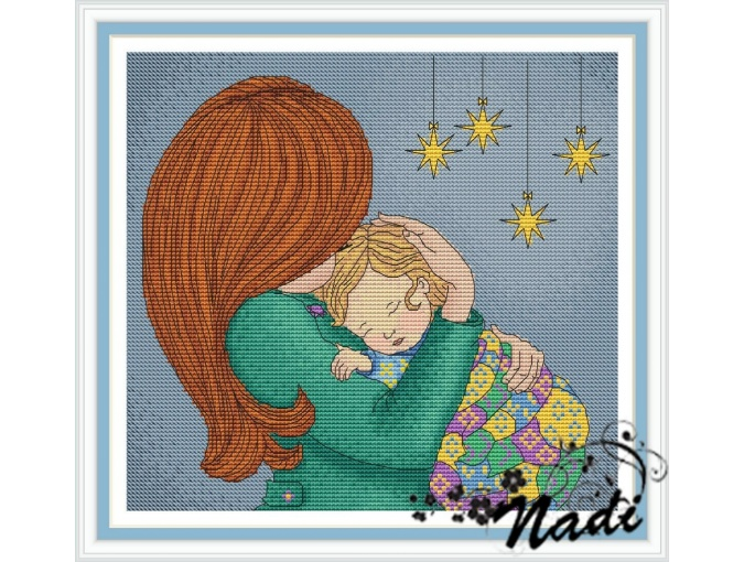 Mom with Son Cross Stitch Pattern фото 1