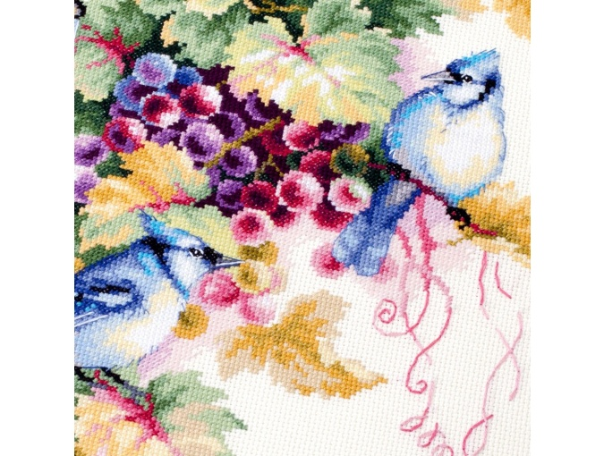 Blue Jay and Grapes Cross Stitch Kit фото 11