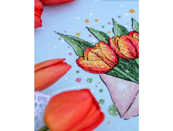 Envelope with Tulips Cross Stitch Pattern фото 6