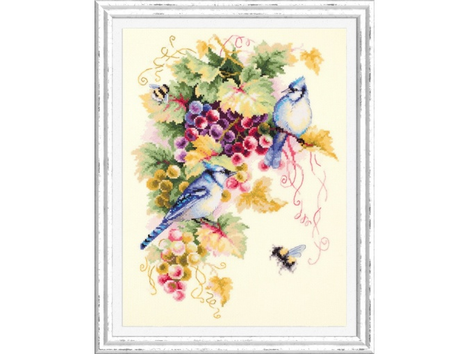 Blue Jay and Grapes Cross Stitch Kit фото 2