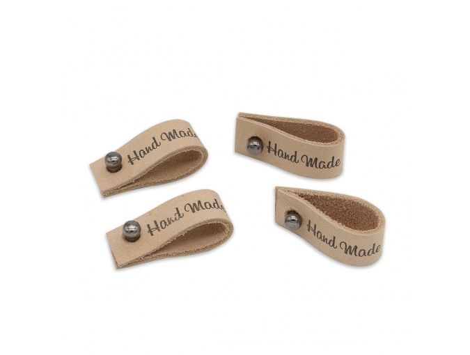 "Leather Label with Button ""Hand Made"", 4pcs фото 1"