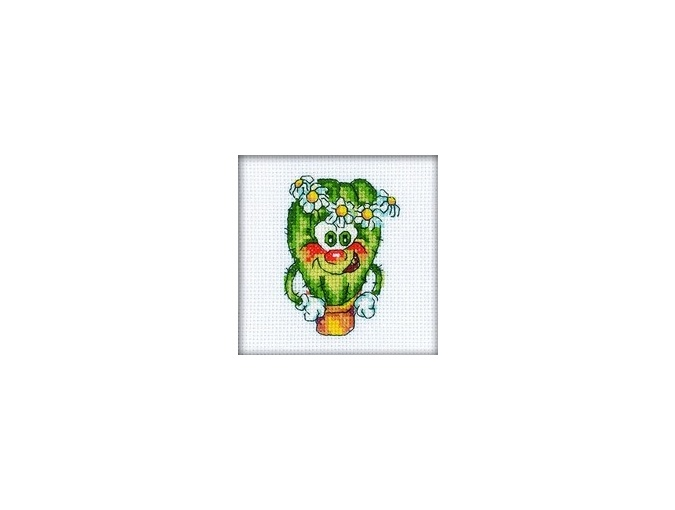 Cheerful Cactus with Flower's Crown Cross Stitch Kit фото 1