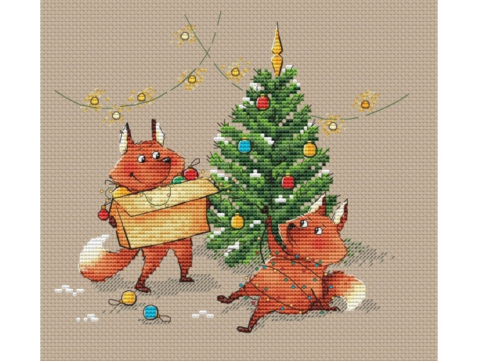 Foxes and Christmas Tree Cross Stitch Pattern фото 1