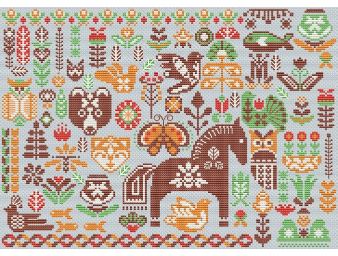 Hygge Green Forest Cross Stitch Pattern фото 2