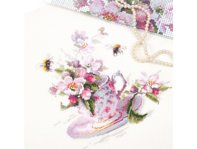 Cup and Apple Blossom Cross Stitch Kit фото 7