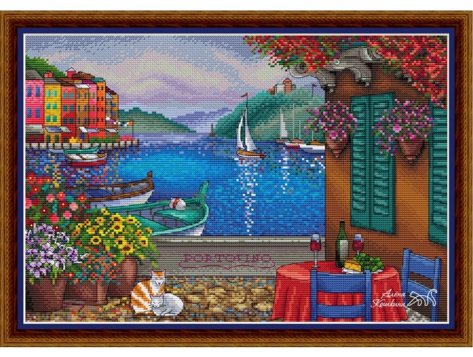 Portofino Cross Stitch Pattern фото 1