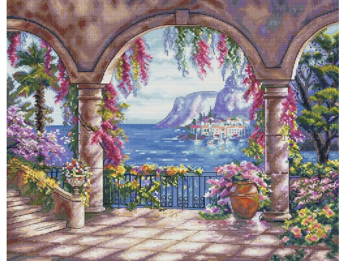 Flower Patio Cross Stitch Pattern фото 1