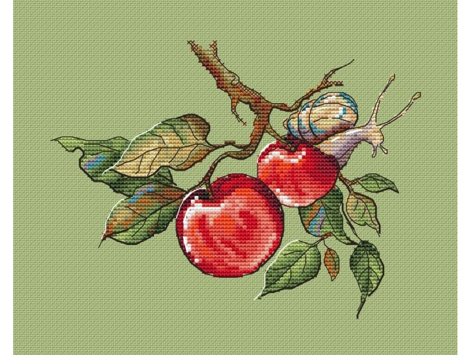 Snail and Apples Cross Stitch Pattern фото 1