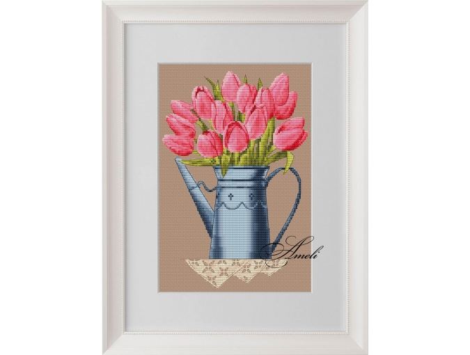 Tulips in a Watering Can Cross Stitch Pattern фото 1