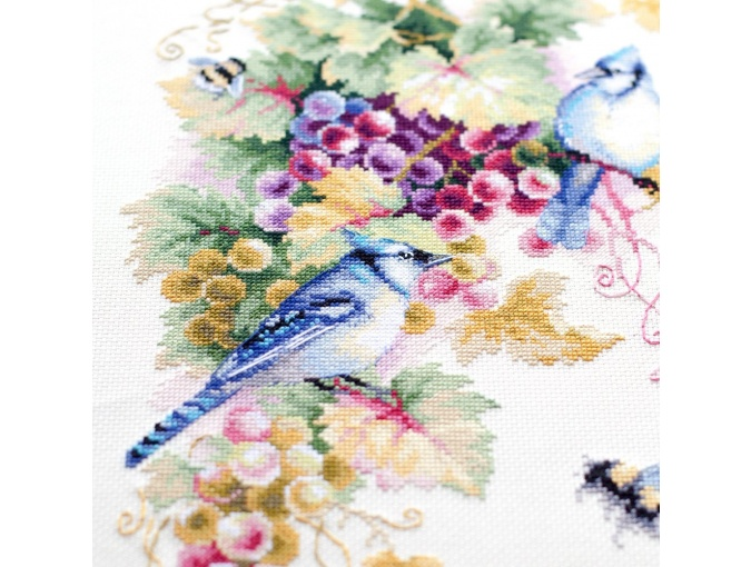Blue Jay and Grapes Cross Stitch Kit фото 10