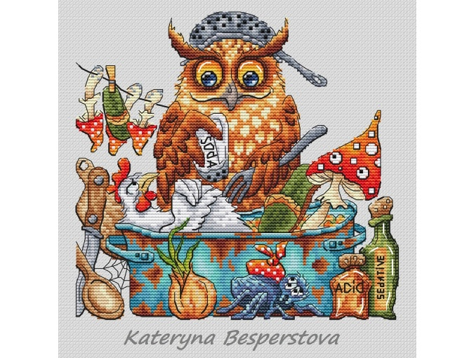 Owl Soup Cross Stitch Pattern фото 1