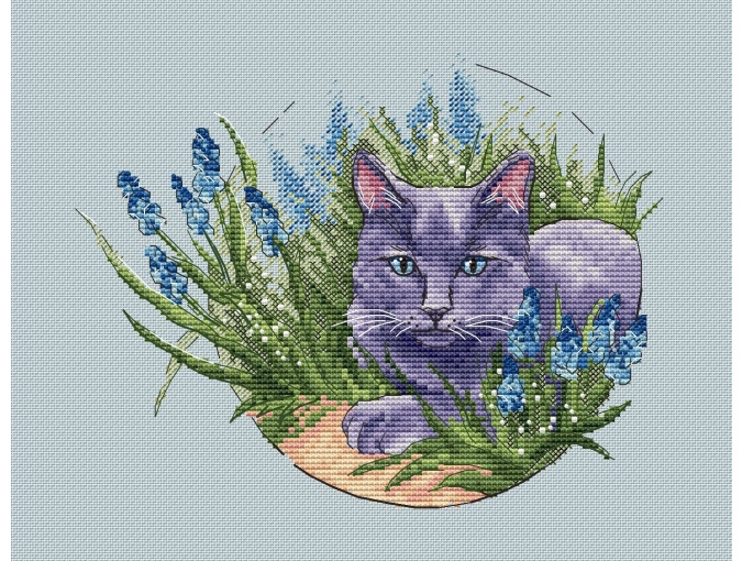 Russian Blue Cross Stitch Pattern фото 1