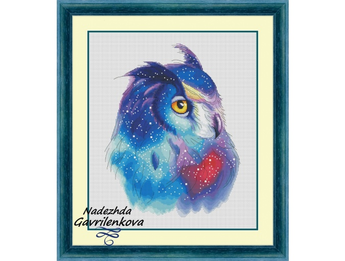 Space Owl Cross Stitch Pattern фото 1