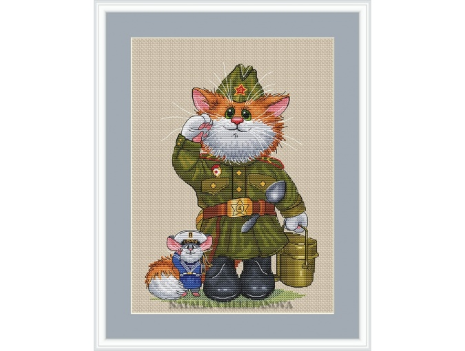 Cat Soldier Cross Stitch Pattern фото 1