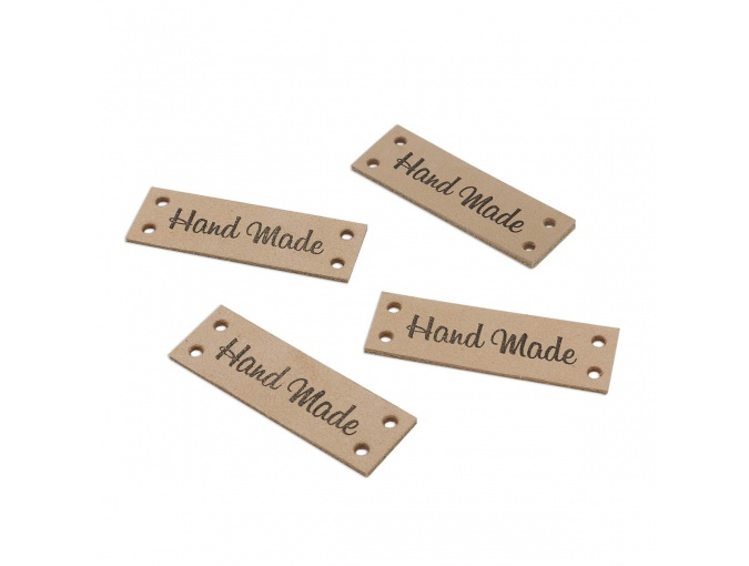 "Leather Sewing Label ""Hand Made"", 4pcs фото 1"