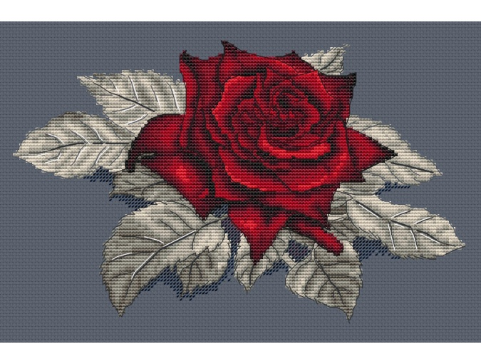 Scarlet Rose. Gray Cross Stitch Pattern фото 1