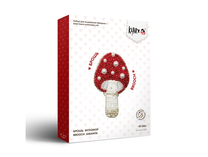 Brooch. Fly Agaric Bead Embroidery Kit фото 2