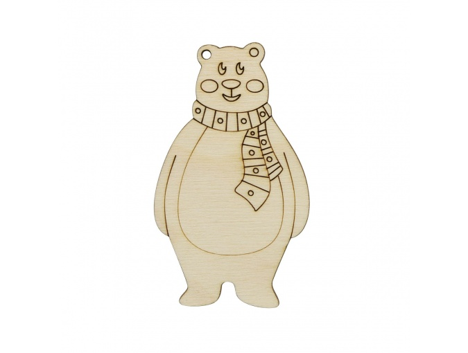 Wooden Bear with Scarf фото 1