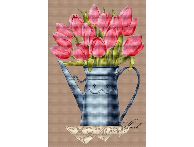 Tulips in a Watering Can Cross Stitch Pattern фото 2