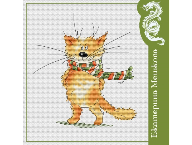 Cat in a Scarf Cross Stitch Pattern фото 1