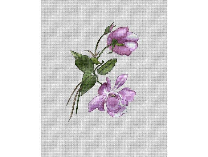 Lilac Rose Cross Stitch Pattern фото 1