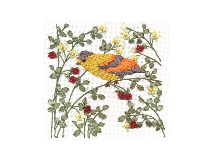 Songbird in a Raspberry Bush Embroidery Kit фото 1