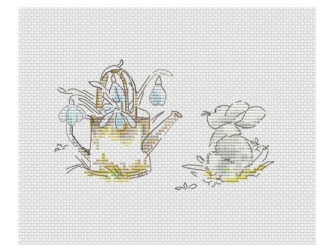 Watering Can with Snowdrops Cross Stitch Pattern фото 1