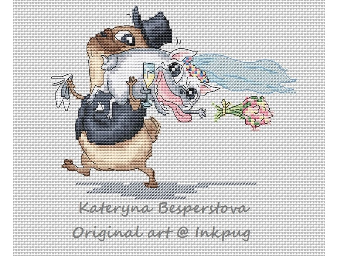 Pug's Weddin Cross Stitch Pattern фото 1