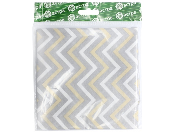 Colored Zig Zags Patchwork Fabric, White/Gray/Yellow фото 1