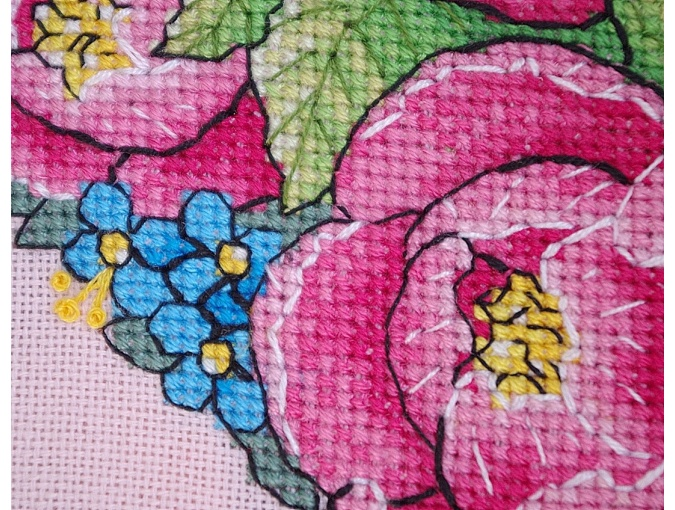 Peony Heart Cross Stitch Pattern фото 5