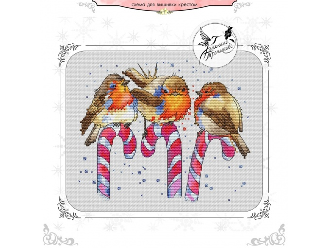Christmas Birds Cross Stitch Pattern фото 1