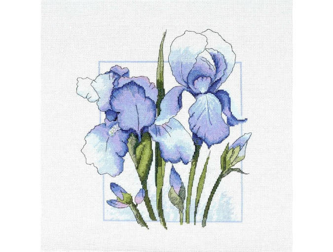 Blue Watercolor Irises Cross Stitch Kit фото 1