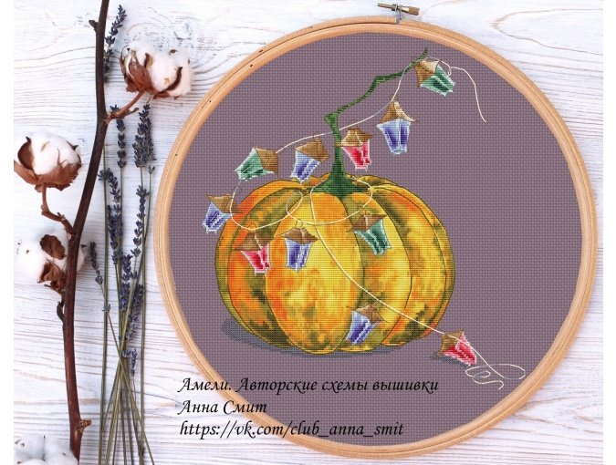 Pumpkin and Garland Cross Stitch Pattern фото 2