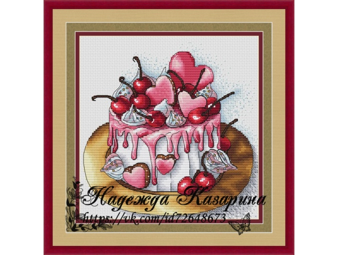 Cake with Cherries Cross Stitch Pattern фото 1