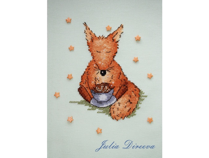 Fox with Coffee Cross Stitch Pattern фото 2