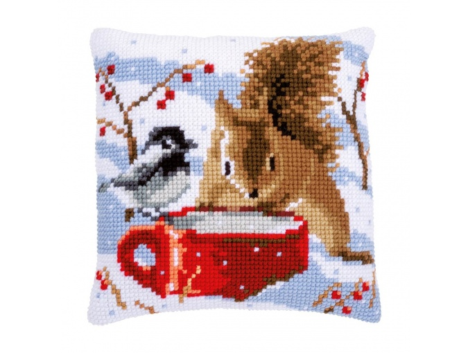 Squirrel and Titmouse Cushion Cross Stitch Kit фото 1