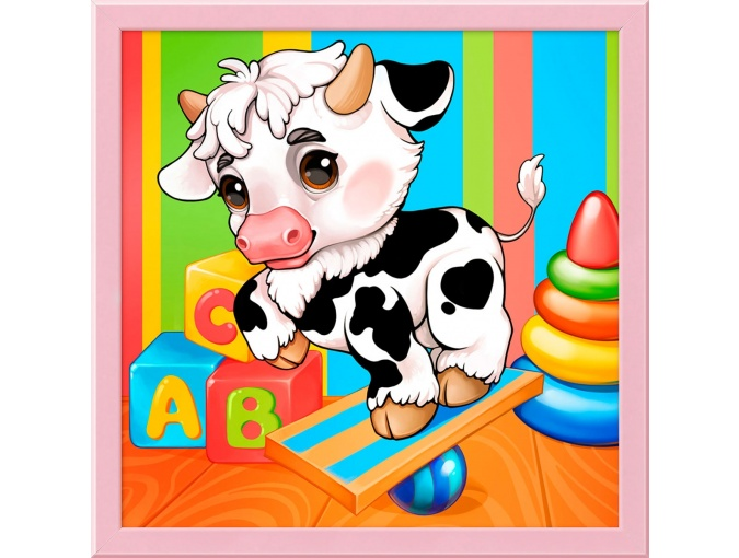 Spotted Little Bull Diamond Painting Kit фото 1