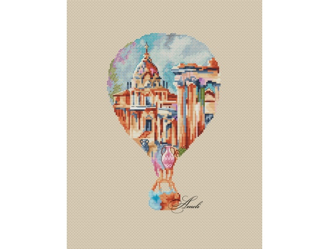 Watercolor Rome Cross Stitch Pattern фото 2
