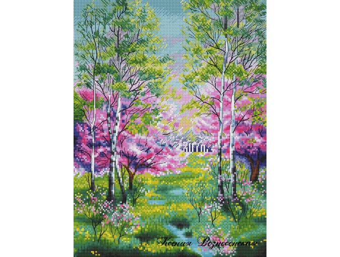 Spring Landscape Cross Stitch Pattern фото 1