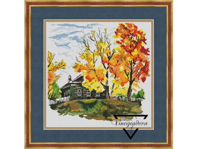 Autumn in the Village Cross Stitch Pattern фото 1