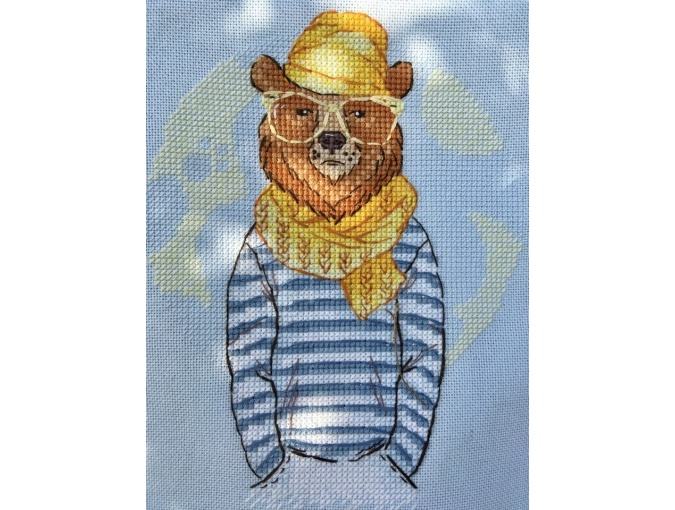 Hipster Bear Cross Stitch Pattern фото 4