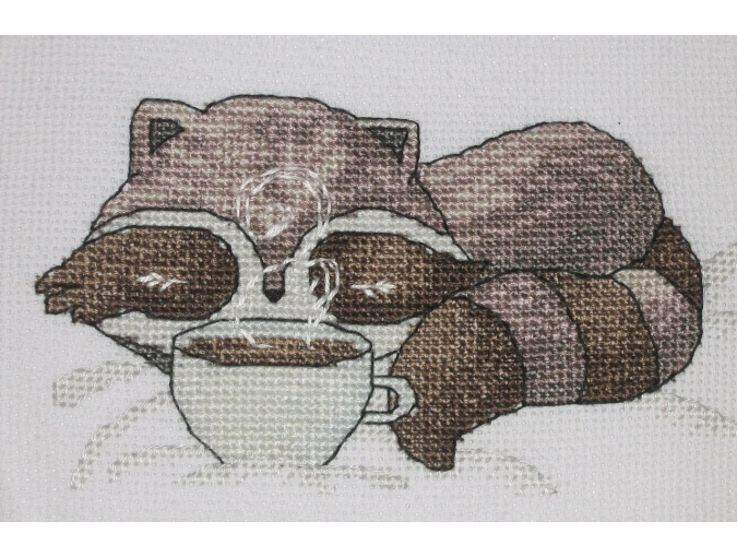 Little Raccoon with Coffee Cross Stitch Pattern фото 3