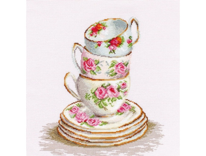 3 Stacked Tea Cups Cross Stitch Kit фото 1