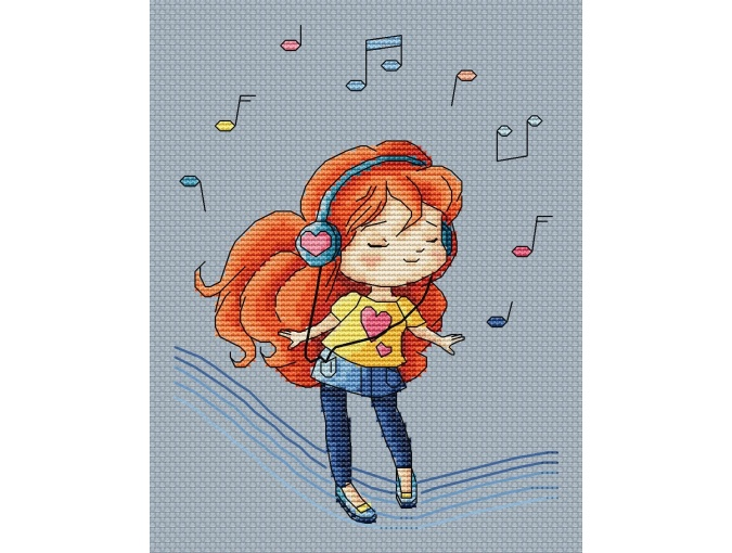 Girl with Headphones Cross Stitch Pattern фото 1