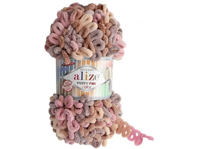 Alize Puffy Fine Color, 100% Micropolyester 5 Skein Value Pack, 500g фото 8