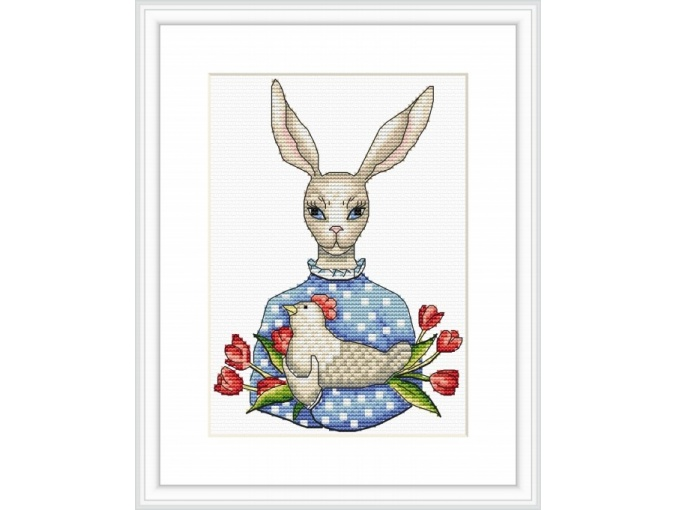 Mrs. Bunny Cross Stitch Pattern фото 1