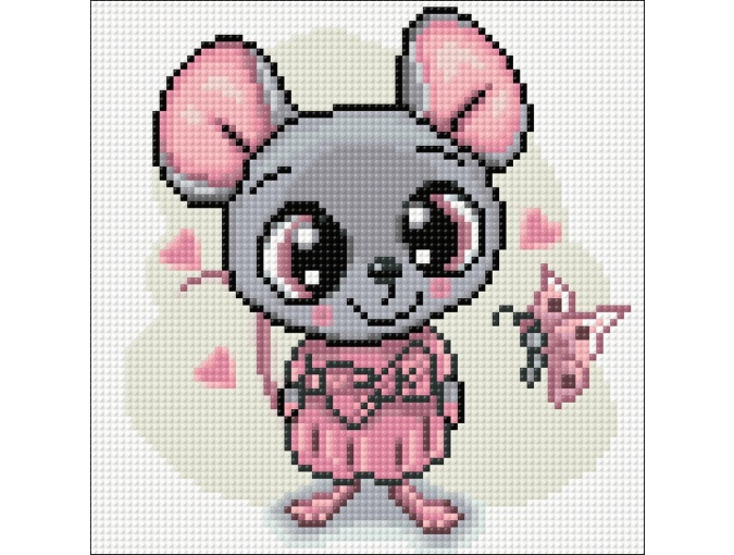 Mouse in Dress Diamond Painting Kit фото 2