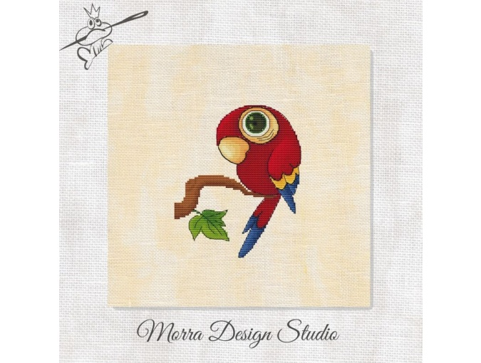 Red Parrot Cross Stitch Pattern фото 1