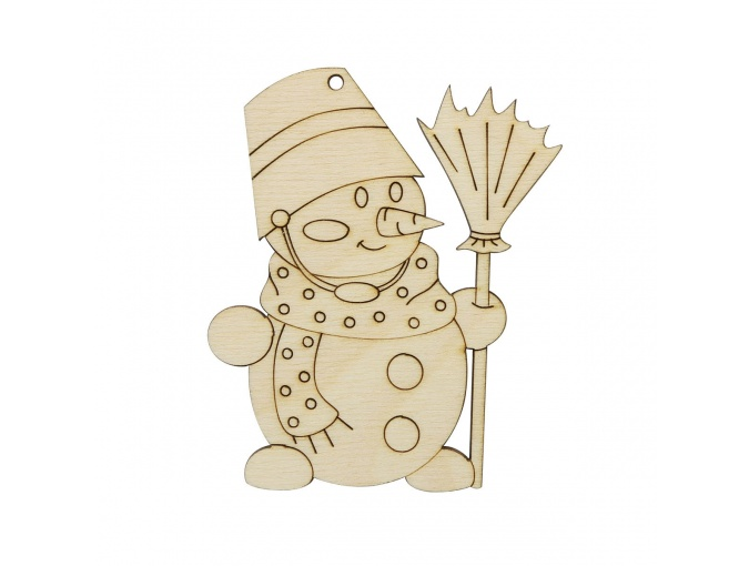 Wooden Snowman with a Broom фото 1