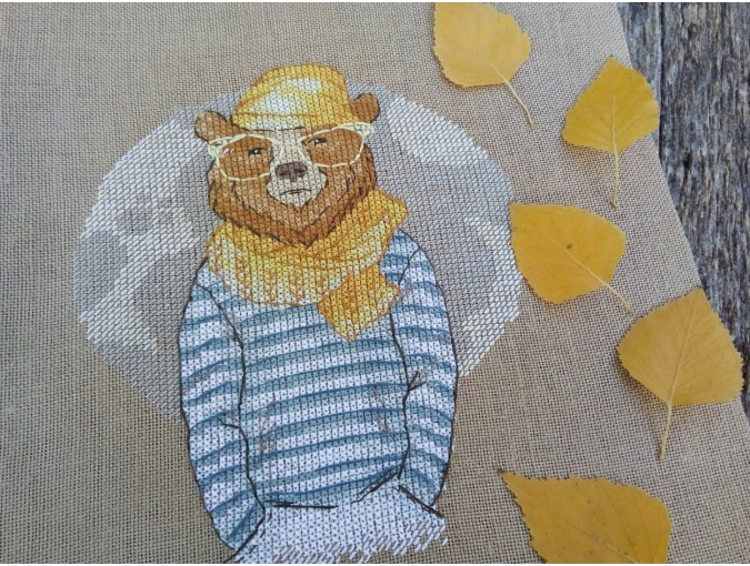 Hipster Bear Cross Stitch Pattern фото 2